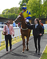 Winner of The Smith & Williamson Handicap (Class 6)   Ablaze ridden by Edward Greatrex and trained by Laura Mongon is led into the winners enclosure during Afternoon Racing at Salisbury Racecourse on 17th May 2018
