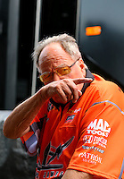 Apr 25, 2014; Baytown, TX, USA; NHRA team owner Connie Kalitta during qualifying for the Spring Nationals at Royal Purple Raceway. Mandatory Credit: Mark J. Rebilas-