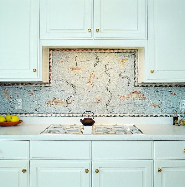 Sealife hand-chopped tumbled stone mosaic backsplash.