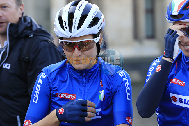 Elisa Longo Borghini of Italy on the start line of the Women Elite Road Race of the UCI World Championships 2019 running 149.4km from Bradford to Harrogate, England. 28th September 2019.<br /> Picture: Eoin Clarke | Cyclefile<br /> <br /> All photos usage must carry mandatory copyright credit (© Cyclefile | Eoin Clarke)