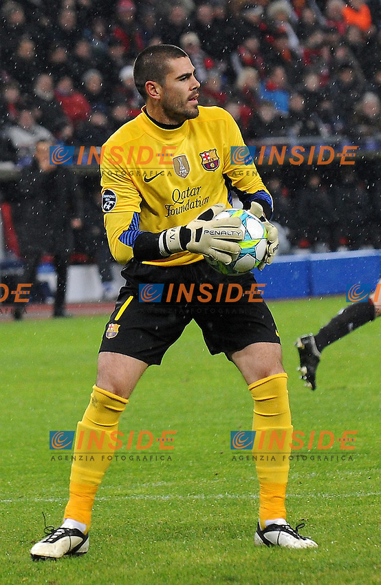 Victor Valdes ( CF Barcelona ) 14/02/2012 Leverkusen, Germania.UEFA Champhions League.Bayer 04 Leverkusen vs FC Barcelona.Photo Insidefoto / Expa / Thienel Thomas
