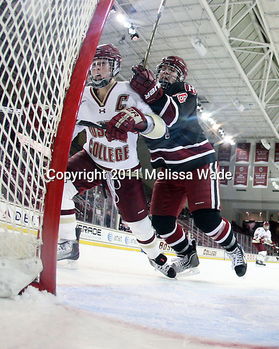 Kelli Stack (BC - 16), Marissa Gedman (Harvard - 16) - The Boston College Eagles defeated the Harvard University Crimson 3-1 to win the 2011 Beanpot championship on Tuesday, February 15, 2011, at Conte Forum in Chestnut Hill, Massachusetts.