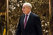 United States Secretary of Homeland Security-designate General John F. Kelly is seen leaving an elevator in the lobby of Trump Tower in New York, NY, USA on January 3, 2017. <br /> Credit: Albin Lohr-Jones / Pool via CNP