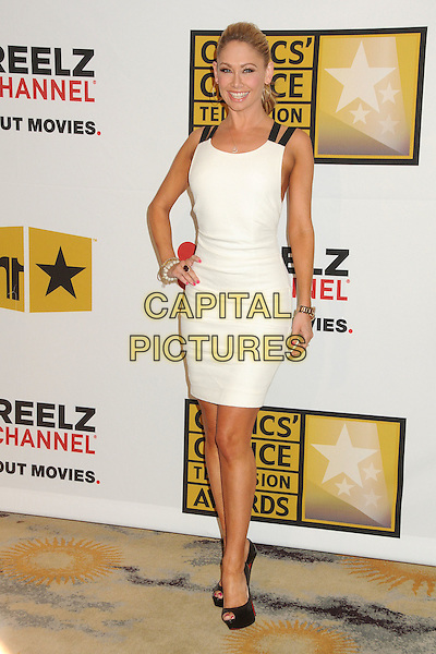 Kym Johnson.1st Annual Critics' Choice Television Awards held at The Beverly Hills Hotel, Beverly Hills, California, USA, .20th June 2011..full length dress hand on hip peep toe platform shoes  black straps white .CAP/ADM/BP.©Byron Purvis/AdMedia/Capital Pictures.