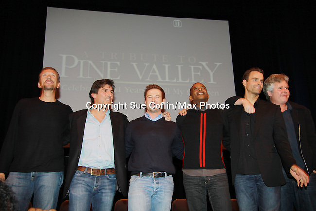 Jacob Young - Darnell Williams - Vincent Irizarry - Cameron Mathison - Walt Willey - Michael E. Knight - A Tribute to Pine Valley - celebrating 41 years of All My Children on October 26, 2011 at the State Theatre, New Brunswick, New Jersey. (Photo by Sue Coflin/Max Photos)