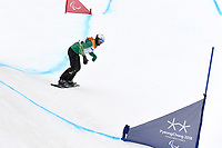 Day 7 / Snowboard banked SL. / Bronze Medalist Simon Patmore (AUS)<br /> PyeongChang 2018 Paralympic Games<br /> Australian Paralympic Committee<br /> PyeongChang South Korea<br /> Friday March 16th 2018<br /> © Sport the library / Jeff Crow