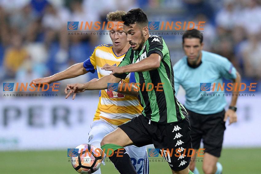 Nicola Sansone-Nicolas Haas<br /> Reggio Emilia 04-08-2016 Stadio Mapei Football Calcio Europa League 2016/2017 Sassuolo - Lucerna. Foto Daniele Buffa / Image Sport / Insidefoto