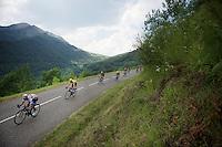 Chris Froome (GBR/SKY) descending <br /> <br /> stage 12: Lannemezan - Plateau de Beille (195km)<br /> 2015 Tour de France