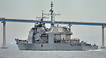 USS ANTIETAM (CG-54)approaches the San Diego Coronado Bay Bridge enroute to the Naval Base, 5 October 2012.