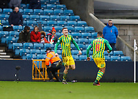 9th February 2020; The Den, London, England; English Championship Football, Millwall versus West Bromwich Albion; Dara O'Shea of West Bromwich Albion celebrates after scoring his sides 2nd goal in the 84th minute to make it 0-2 with Jake Livermore of West Bromwich Albion