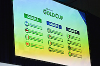 Santa Clara, CA - Tuesday, March 07, 2017: Groups A, B, C during the unveiling of the CONCACAF 2017 Gold Cup Groups & Schedule at Levi's Stadium.
