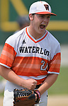 Waterloo pitcher Drake Downing gives out a victory yell after his team won and he threw a complete game against Carbondale in the Class 3A Salem baseball sectional championship game at Salem HS in Salem, IL on Saturday June 1, 2019.<br /> Tim Vizer/Special to STLhighschoolsports.com