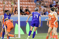 Houston, TX - Saturday June 17, 2017: Jasmyne Spencer celebrates Alanna Kennedy's goal against Houston  during a regular season National Women's Soccer League (NWSL) match between the Houston Dash and the Orlando Pride at BBVA Compass Stadium.