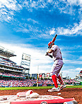 30 August 2015: Washington Nationals outfielder Bryce Harper stands on deck during a game against the Miami Marlins at Nationals Park in Washington, DC. The Nationals rallied to defeat the Marlins 7-4 in the third game of their 3-game weekend series. Mandatory Credit: Ed Wolfstein Photo *** RAW (NEF) Image File Available ***