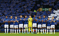 26th December 2019; Goodison Park, Liverpool, Merseyside, England; English Premier League Football, Everton versus Burnley; Everton fans in the Sir Philip Carter stands hold up a mosaic as the Everton players take part in a minute of applause in memory of Evertonians who passed away during 2019 - Strictly Editorial Use Only. No use with unauthorized audio, video, data, fixture lists, club/league logos or 'live' services. Online in-match use limited to 120 images, no video emulation. No use in betting, games or single club/league/player publications