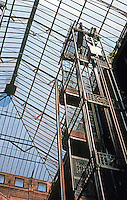 Los Angeles: Bradbury Building, Los Angeles--Elevator.  Skylight. Photo '78.