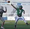 Nick Lundin #3, Farmingdale quarterback, throws a pass on fourth down for a touchdown in the third quarter of the Nassau County football Conference I semifinals against Oceanside at Shuart Stadium in Hempstead on Saturday, Nov. 10, 2018.