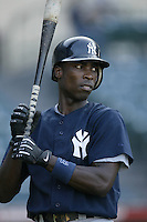 Alfonso Soriano of the New York Yankees before a 2002 MLB season game against the Los Angeles Angels at Angel Stadium, in Anaheim, California. (Larry Goren/Four Seam Images)