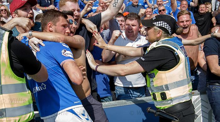 25.08.2019 St Mirren v Rangers: Borna Barisic celebrates his goal with the Rangers fans