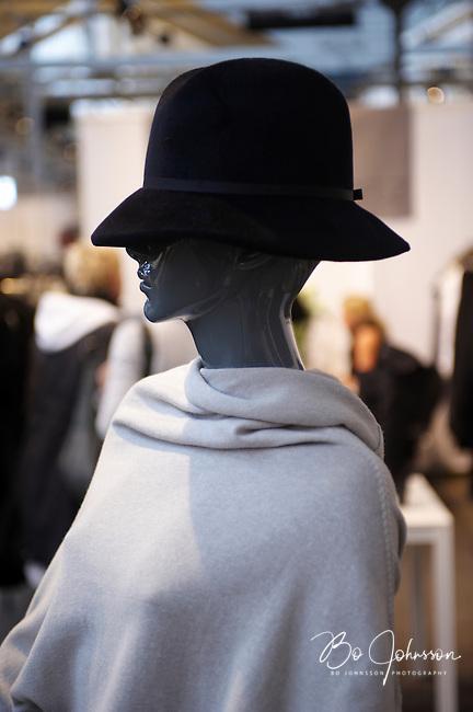 Cool mannequin with hat. Design by Annette Gortz, Denmark (www.nilleagentur.dk). CPH Vision Fashion Fair in Oksnehallen during Copenhagen Fashion Week AW10, Denmark.<br /> February -10.<br /> Only for editorial use.