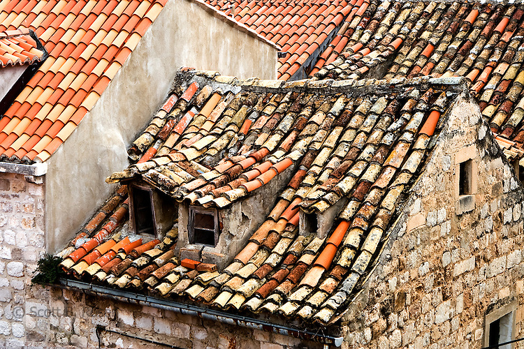 Close-up of terra-cotta roofs in Dubrovnik's old town (stari grad), Croatia