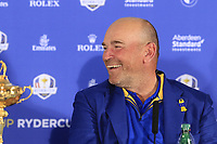 Thomas Bjorn (Team Europe Captain) at the press conference after Europe win the Ryder Cup 17.5 to 10.5 at the end of Sunday's Singles Matches at the 2018 Ryder Cup 2018, Le Golf National, Ile-de-France, France. 30/09/2018.<br /> Picture Eoin Clarke / Golffile.ie<br /> <br /> All photo usage must carry mandatory copyright credit (&copy; Golffile | Eoin Clarke)