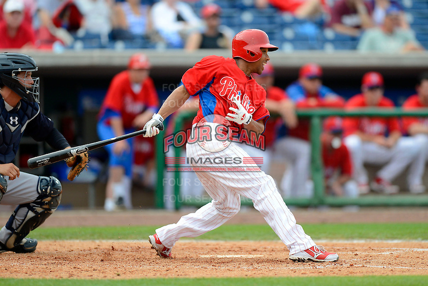 Philadelphia Phillies outfielder Ben Revere #2 during a Spring Training game against the New York Yankees at Bright House Field on February 26, 2013 in Clearwater, Florida.  Philadelphia defeated New York 4-3.  (Mike Janes/Four Seam Images)