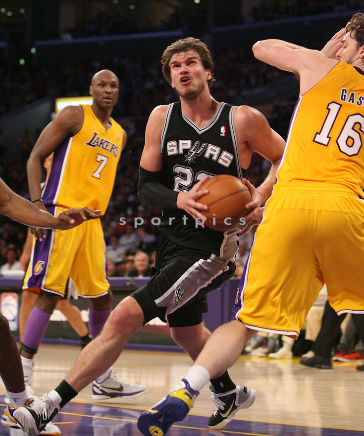 TIAGO SPLITTER, of the San Antonio Spurs in action during the Spurs game against the LA Lakers, on April 12, 2011 in Los Angeles, California. The Lakers beat the Spurs 102-93.