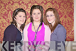 Supporters of Templeglatine GAA Club pictured last Saturday night in The Devonn Inn, Templeglantine for the annual social l-r: Claire O'Sullivan, Kathryn Kennelly and Shannyn Sheehan...'Shannyn' is how she spells it
