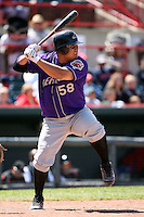 May 31, 2009:  Catcher Armando Camacaro of the Akron Aeros at bat during a game at Jerry Uht Park in Erie, NY.  The Aeros are the Eastern League Double-A affiliate of the Cleveland Indians.  Photo by:  Mike Janes/Four Seam Images
