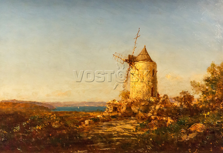 "The Mill called ""mill of Daudet"" near Martigues - Felix Ziem (1821-1911)"