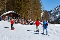 Germany, Bavaria, Chiemgau, between Ruhpolding and Reit im Winkl: ski hut Mittersee | Deutschland, Bayern, Chiemgau, zwischen Ruhpolding und Reit im Winkl: Langlauf- und Rasthuette Mittersee