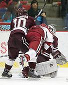 Kevin McNamara (Colgate - 10), Marshall Everson (Harvard - 21), Eric Mihalik (Colgate - 29) - The Harvard University Crimson defeated the visiting Colgate University Raiders 4-2 on Saturday, November 12, 2011, at Bright Hockey Center in Cambridge, Massachusetts.