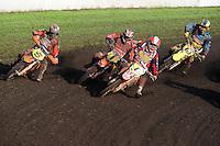 MOTORSPORT: JOURE: De Nutsbaan, MC Flying Boetoe, 12-05-2012, ONK Grasbaan wedstrijden, Shorttrack ST1, Wybe Valkema (#5), Sytze Hilleger (#1), Berry de Vos (#6), Reinse de Jong (#10), ©foto Martin de Jong
