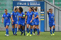 Manuela Giugliano (R) of Italy celebrates with team mates after scoring the goal of 2-0<br /> Palermo 08-10-2019 Stadio Renzo Barbera <br /> UEFA Women's European Championship 2021 qualifier group B match between Italia and Bosnia-Herzegovina.<br /> Photo Carmelo Imbesi / Insidefoto