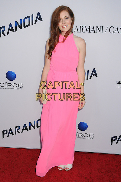 Haley Finnegan<br /> &quot;Paranoia&quot; Los Angeles Premiere held at the Directors Guild of America, West Hollywood, California, USA, 8th August 2013.<br /> full length long maxi dress pink sleeveless smiling clutch bag <br /> CAP/ADM/BP<br /> &copy;Byron Purvis/AdMedia/Capital Pictures