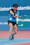 Kurumi Onoue (JPN), <br /> AUGUST 28, 2018 - Soft Tennis : <br /> Women's Singles Preliminary Round <br /> at Jakabaring Sport Center Tennis Courts <br /> during the 2018 Jakarta Palembang Asian Games <br /> in Palembang, Indonesia. <br /> (Photo by Yohei Osada/AFLO SPORT)