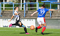 20190810 - DENDERLEEUW, BELGIUM : PAOK's Thomai Vardali (left) pictured scoring the 1-0 for PAOK past Linfield's Abbie Magee (r) during the female soccer game between the Greek PAOK Thessaloniki Ladies FC and the Northern Irish Linfield ladies FC , the second game for both teams in the Uefa Womens Champions League Qualifying round in group 8 , Wednesday 7 th August 2019 at the Van Roy Stadium in Denderleeuw  , Belgium  .  PHOTO SPORTPIX.BE | DAVID CATRY