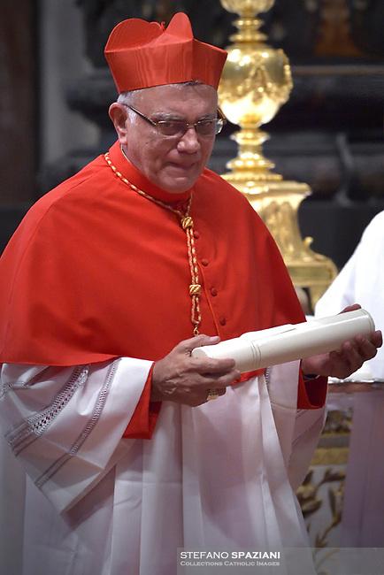 Archbishop of Merida in Venezuela, Baltazar Enrique Porras Cardozo . Pope Francis, during a consistory at Peter's basilica. Pope Francis has named 17 new cardinals, on November 19, 2016