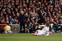 26th February 2020; Estadio Santiago Bernabeu, Madrid, Spain; UEFA Champions League Football, Real Madrid versus Manchester City; Riyad Mahrez (Manchester City) skips the tackle from Luka Modric (Real Madrid)