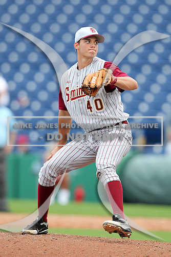 Florida State Seminoles Peter Miller #40 during a scrimmage vs the Philadelphia Phillies  at Bright House Field in Clearwater, Florida;  February 24, 2011.  Philadelphia defeated Florida State 8-0.  Photo By Mike Janes/Four Seam Images