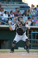 Ryan Miller (20) of the Lake Elsinore Storm in the field at catcher a game against the Lancaster JetHawks at The Hanger on August 29, 2015 in Lancaster, California. Lancaster defeated Lake Elsinore 7-4. (Larry Goren/Four Seam Images)
