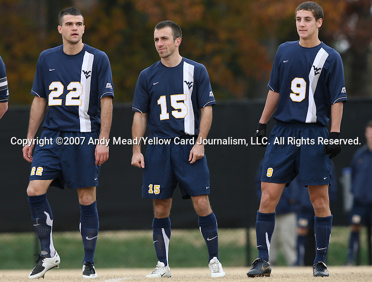 02 December 2007: West Virginia's Pat Carroll (22), Mike Anoia (15), and Paul Paradise (9). The Wake Forest University Demon Deacons defeated the West Virginia University Mountaineers 3-1 at W. Dennie Spry Soccer Stadium in Winston-Salem, North Carolina in a Third Round NCAA Division I Mens Soccer Tournament game.