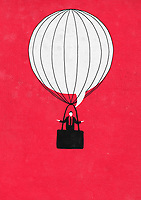 Shrugging businessman in speech bubble hot air balloon ExclusiveImage