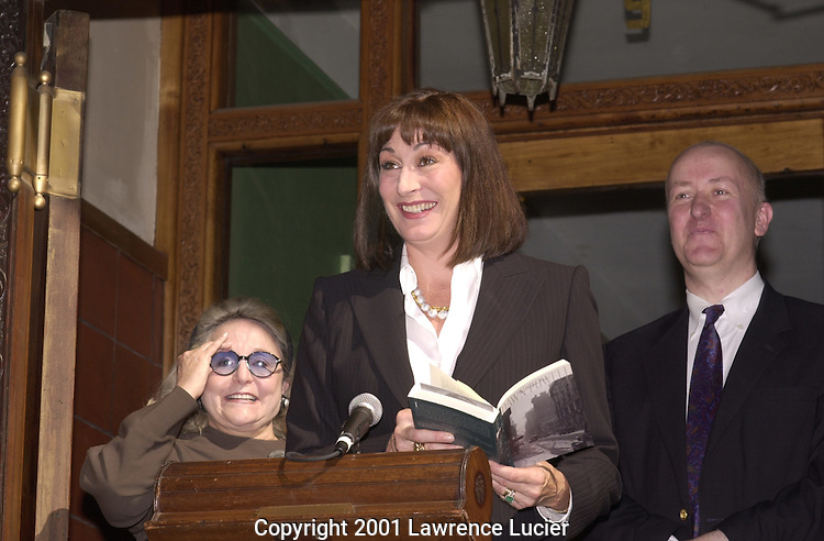 "Anjelica Huston dedicates a cultural medallion at 9 East 10th St in NYC. The medallion, a program of  Historic Landmarks Preservation Center,  memorializes author Dawn Powell, a house resident from 1934 to 1942. Huston is writing a screenplay from Powell's ""A Time to Be Born."""