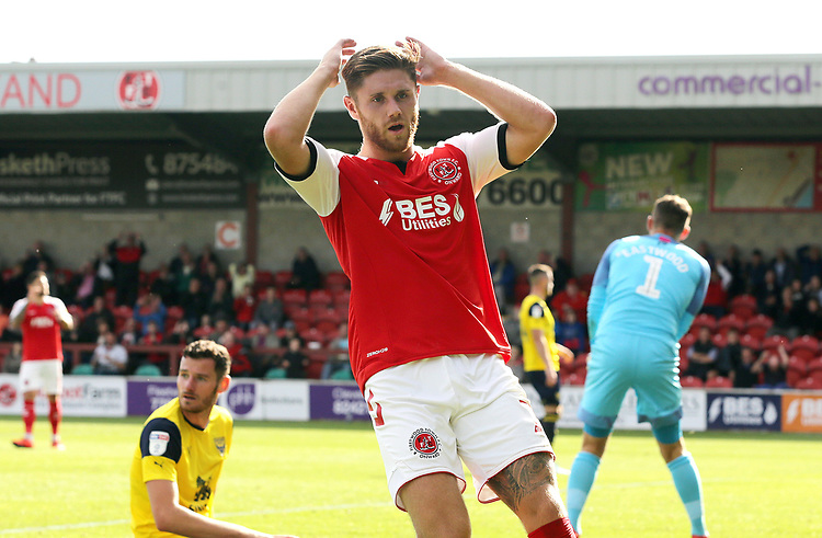 Fleetwood Town's Wes Burns rues a missed opportunity<br /> <br /> Photographer Rich Linley/CameraSport<br /> <br /> The EFL Sky Bet League One - Fleetwood Town v Oxford United - Saturday 7th September 2019 - Highbury Stadium - Fleetwood<br /> <br /> World Copyright © 2019 CameraSport. All rights reserved. 43 Linden Ave. Countesthorpe. Leicester. England. LE8 5PG - Tel: +44 (0) 116 277 4147 - admin@camerasport.com - www.camerasport.com