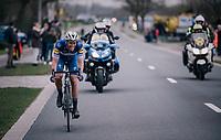 Niki Terpstra (NED/Quick-Step Floors) solo-ing towards the finish in Oudenaarde<br /> <br /> 102nd Ronde van Vlaanderen 2018 (1.UWT)<br /> Antwerpen - Oudenaarde (BEL): 265km