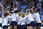 10 September 2015: UNC players celebrate their victory. The University of North Carolina Tar Heels hosted the Stanford University Cardinal at Carmichael Arena in Chapel Hill, NC in a 2015 NCAA Division I Women's Volleyball contest. North Carolina won the match 25-17, 27-25, 25-22.