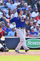 Chicago Cubs catcher Miguel Montero (47) hits a home run during a game against the Atlanta Braves at Turner Field on June 11, 2016 in Atlanta, Georgia. The Cubs defeated the Braves 8-2. (Tony Farlow/Four Seam Images)