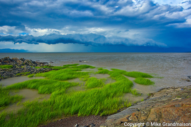 Shoreline along the Gulf of St. Lawrence with storm<br />